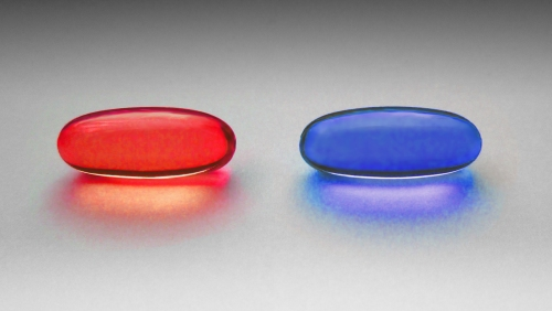 """Red and blue pill"" by W.carter - Own work."